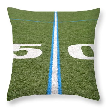 Football Field Fifty Throw Pillow by Henrik Lehnerer