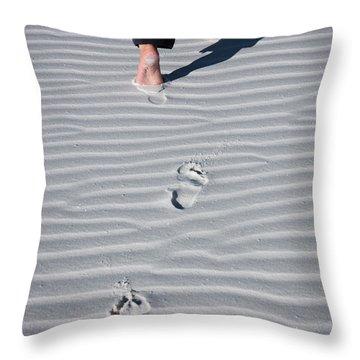 Footprint On White Sand Throw Pillow