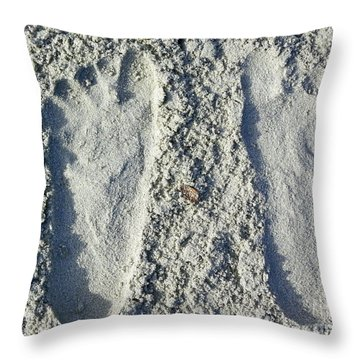 Throw Pillow featuring the photograph Footprints by Eve Spring