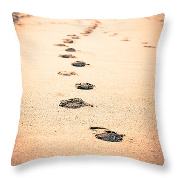 Footprints In Sand Throw Pillow by Paul Velgos