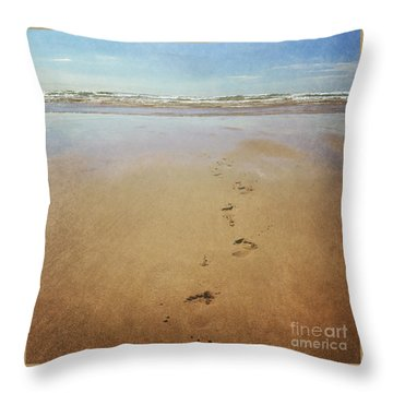 Footprints In The Sand Throw Pillow by Lyn Randle