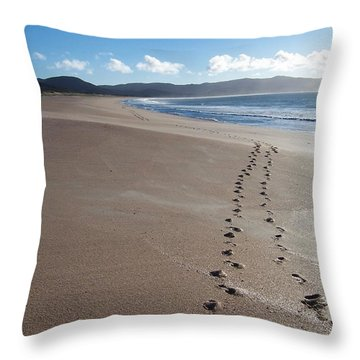 Throw Pillow featuring the photograph Footsteps In The Sand by Peter Mooyman