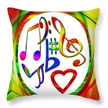 For The Love Of Music Throw Pillow by Susan Leggett