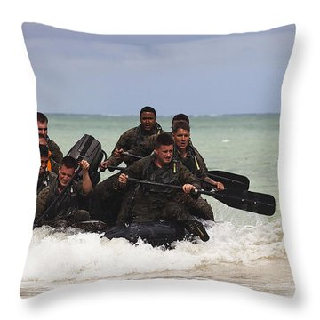 Force Reconnaissance Marines Paddle Throw Pillow by Stocktrek Images