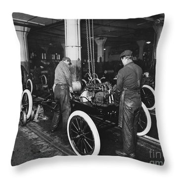 Ford Assembly Line Throw Pillow by Omikron