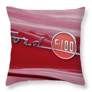 Ford F-100 Nameplate Throw Pillow by Guy Whiteley