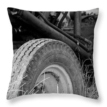 Throw Pillow featuring the photograph Ford Tractor Details In Black And White by Jennifer Ancker