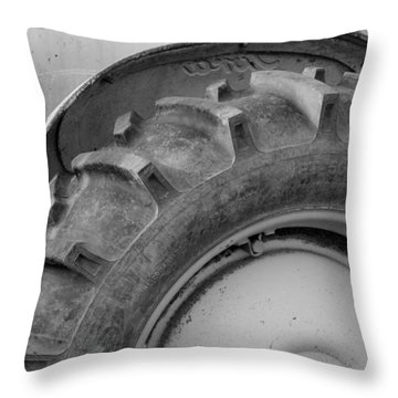 Throw Pillow featuring the photograph Ford Tractor In Black And White by Jennifer Ancker