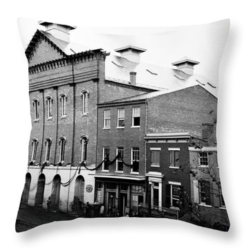 Throw Pillow featuring the photograph Fords Theater - After Lincolns Assasination - 1865 by International  Images
