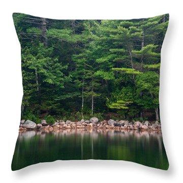Forest At Jordan Pond Acadia Throw Pillow by Steve Gadomski