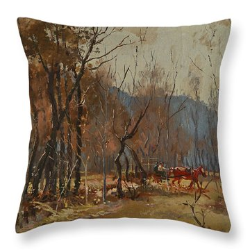 Forest By Shkumbini River  Throw Pillow