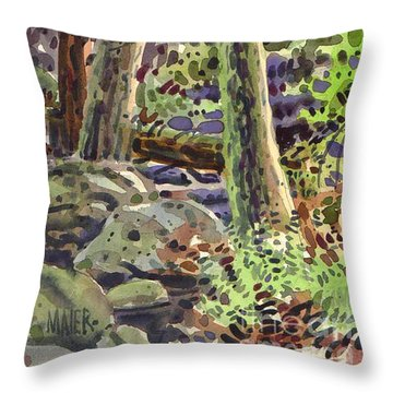 Throw Pillow featuring the painting Forest Green by Donald Maier