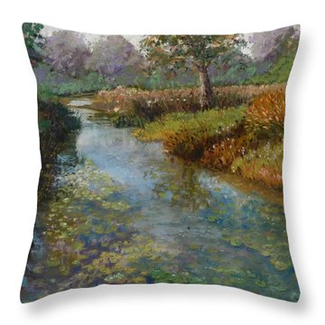 Forest Park Lily Pads Throw Pillow by Lorraine McFarland