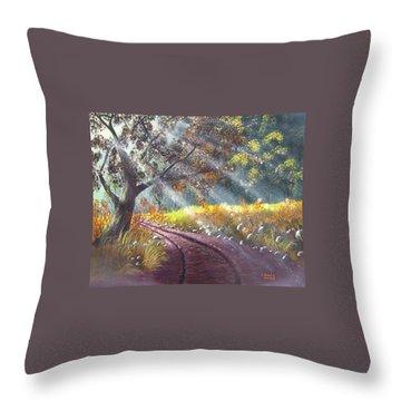 Forest Sunbeams Throw Pillow