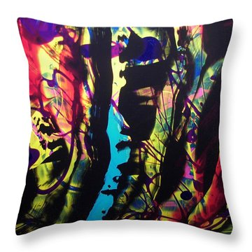 Throw Pillow featuring the painting Forest Water Sun Abstract by Carolyn Repka