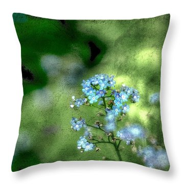 Forget-me-not Grunge Throw Pillow by Darren Fisher