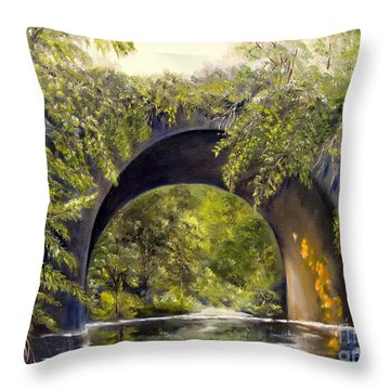Throw Pillow featuring the painting Forgotten Train Bridge by Carol Sweetwood