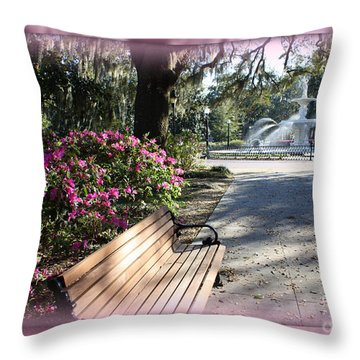 Forsyth Park In Spring Pink Throw Pillow by Carol Groenen