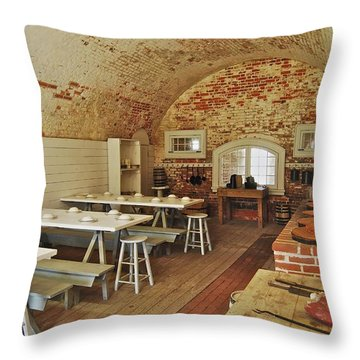 Fort Macon Mess Hall_9078_3765 Throw Pillow by Michael Peychich