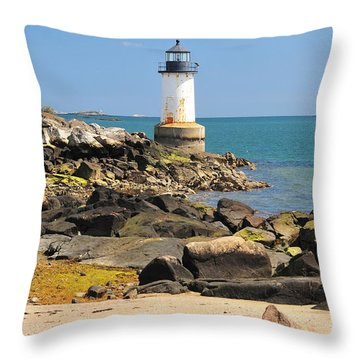 Fort Pickering Lighthouse Throw Pillow by Catherine Reusch Daley