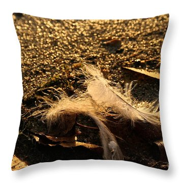 Found Feathers Throw Pillow by Susan Herber