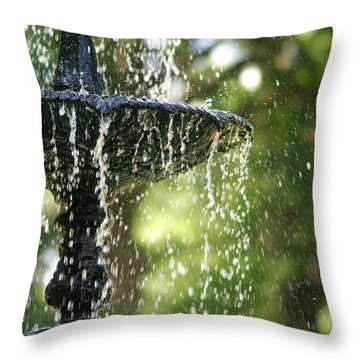 Throw Pillow featuring the photograph Fountain At Capitol Square by Suzanne Powers