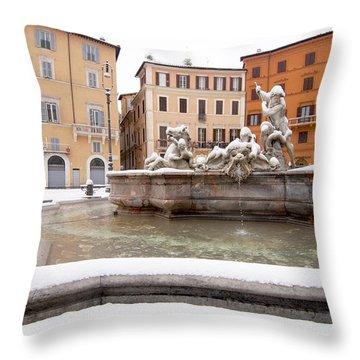 Fountain Of Neptune Throw Pillow by Fabrizio Troiani