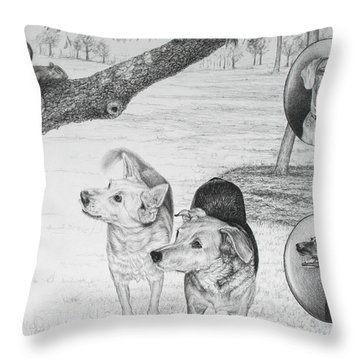Throw Pillow featuring the drawing Four Dogs And A Squirrel by Mike Ivey