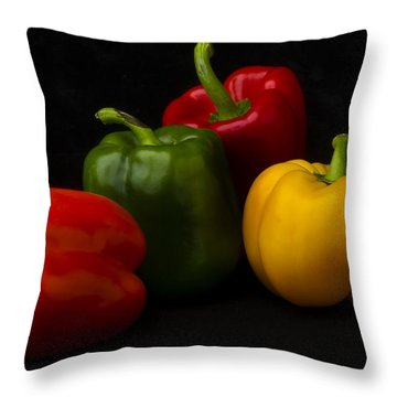 Four Peppers Throw Pillow by Frederic A Reinecke