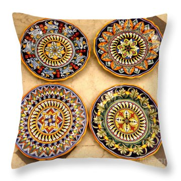 Throw Pillow featuring the photograph Four Plates by Tanya  Searcy