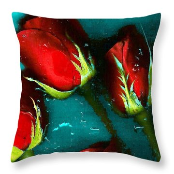 Four Roses Throw Pillow