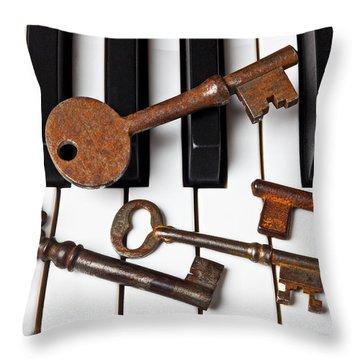 Four Skeleton Keys Throw Pillow by Garry Gay