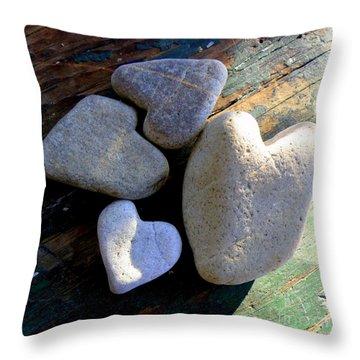 Four Stone Hearts Throw Pillow