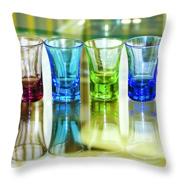 Four Vodka Glasses Throw Pillow by Svetlana Sewell
