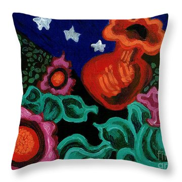 Fowers At Night Throw Pillow by Genevieve Esson