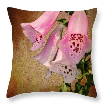 Fox Glove Grunge Throw Pillow by Bill Cannon