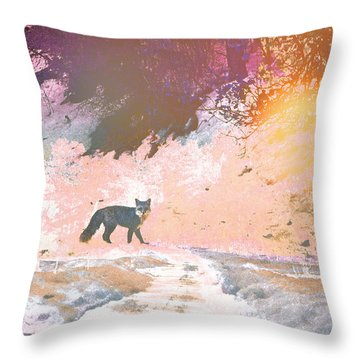 Fox In The Forest 2 Throw Pillow by Lenore Senior and Tammy Sutherland