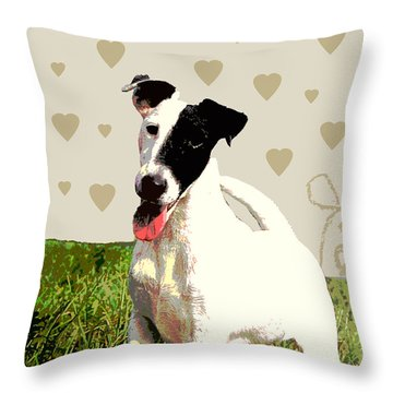 Fox Terrier Smooth Throw Pillow by One Rude Dawg Orcutt