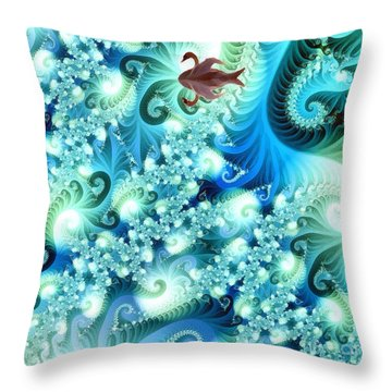 Fractal And Swan Throw Pillow by Odon Czintos