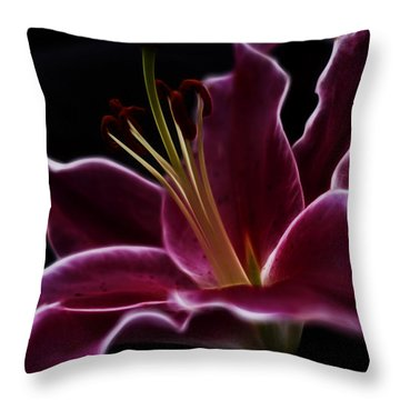 Fractal Lily Petals Throw Pillow