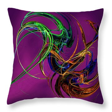 Fractal Tatoo-purple Throw Pillow by Michael Durst