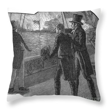 Francis Scott Key (1779-1843). American Lawyer And Poet. Witnessing The Bombardment Of Fort Mchenry, September 13-14, 1814: Wood Engraving, American, 1885 Throw Pillow by Granger