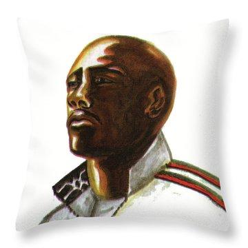 Franckie Fredericks Throw Pillow by Emmanuel Baliyanga