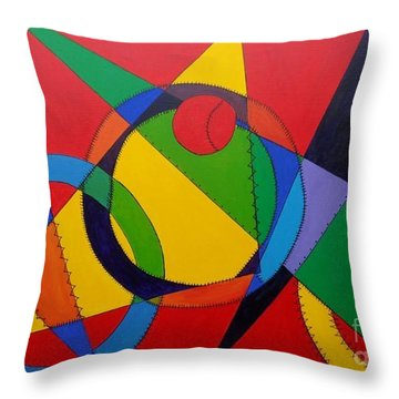 Throw Pillow featuring the painting Frankenball by Julie Brugh Riffey