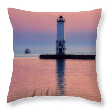 Throw Pillow featuring the photograph Frankfort Lighthouse by Joan Bertucci