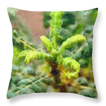 Frankincense Tree Leaves Throw Pillow