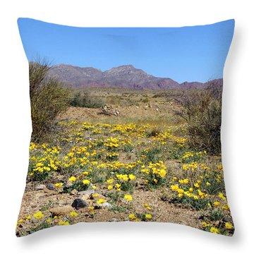 Franklin Mt. Poppies Throw Pillow by Kurt Van Wagner