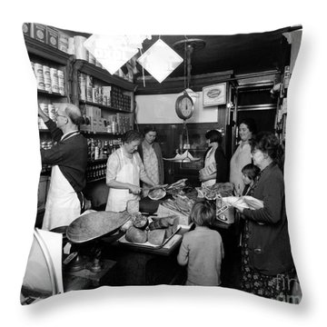 Fred Grovers Grocery Store Throw Pillow by Photo Researchers