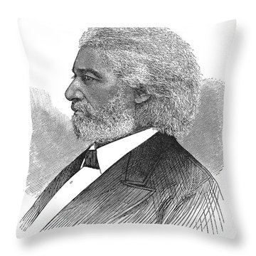 Frederick Douglass (c1817-1895). American Abolitionist. Wood Engraving, American, 1877 Throw Pillow by Granger
