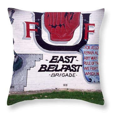 Freedom Corner Mural Belfast Throw Pillow by Thomas R Fletcher